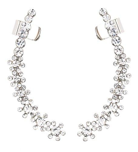 Boderier Ear Cuffs Crystal Flower Earrings Crystal Cluster Top Ear Clip (Silver T)