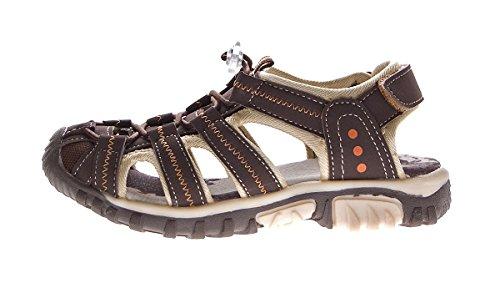 Magnus Kinder Sandalette Geschlossen Gummizug Leder Innensohle Schuhe Klettverschluss Gr. 31-35 Braun