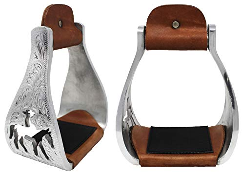 Challenger Tack Horse Saddle Aluminium Western Riding SS Stirrups Leather Tread 51146 ()