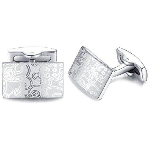 Cufflinks Silver Pattern - Honey Bear Cufflinks For Men - Silver Stainless Steel Figured Pattern, Shirt Wedding Gift