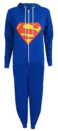 Baleza Women's Ladies Unisex Supeman Superhero Long Sleve Hodded Onesie Jumpsuit (M/L-UK(12-14), Blue)