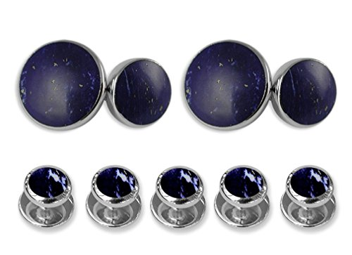Set silver Sterling double lapis sided Studs Gift Cufflinks Shirt Dress FqdqzW
