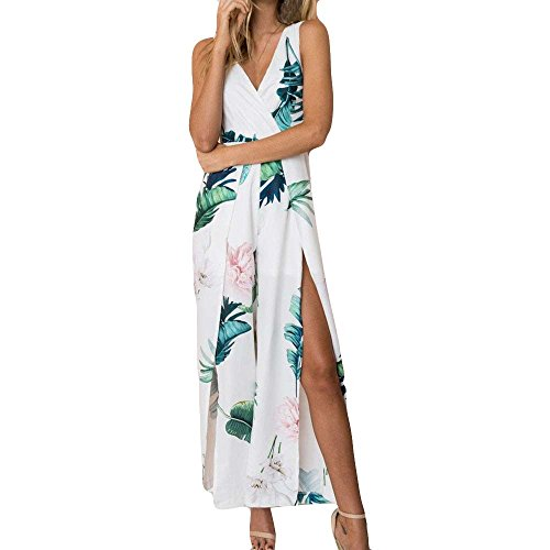 【MOHOLL】 Women's Strap Floral Print Lace Up Backless Deep V Neck Sexy Split Beach Maxi Dress White
