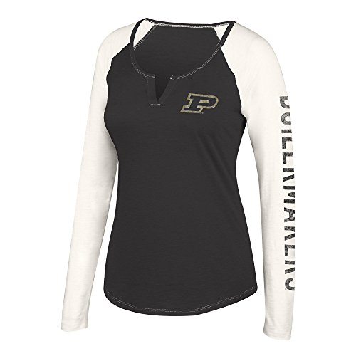 J America NCAA Purdue Boilermakers Womens NCAA Women's Notch Neck Long Sleeve Tee, Large, Black Antique ()