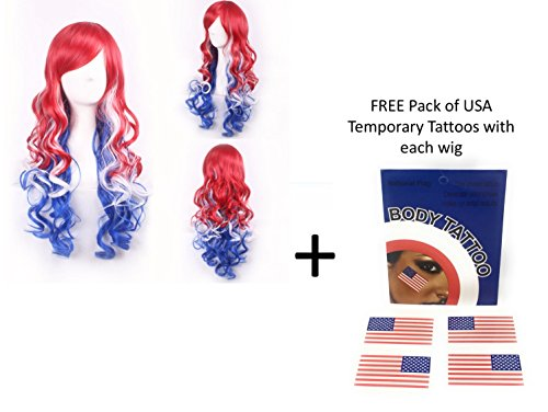 American USA Long Curly Wig + Free Temporary Tattoo - Fancy Dress Red White & Blue Wig (Red White and Blue Long)]()