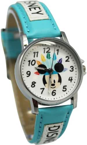 Baby Blue/Sky Blue Mickey Mouse Leather Band Watch