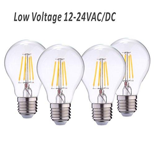 RV Camper Marine light bulb A19 Low Voltage 12V 24V AC DC 4W 470lm, Edison Incandescent Bulb 40W, Off Grid Solar Battery System Lighting, E26 base Warmwhite 2700K (Pack of 4) Marine Light Bulb