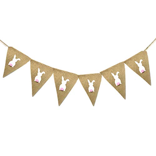 (Easter Banner, Rabbit Burlap Banners Fits for Easter Decorations and Spring Themed Party Home Decor)