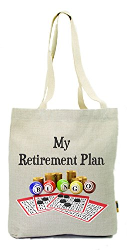 Rikki Knight My Retirement Plan is Bingo Cotton Linen Natural Color Tote Gym Shopping Bag (ECO-FRIENDLY) by Rikki Knight