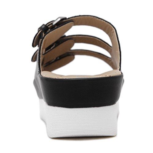 3 Platform Black DQQ Sandal Straps Buckle Women's 5IqTPO