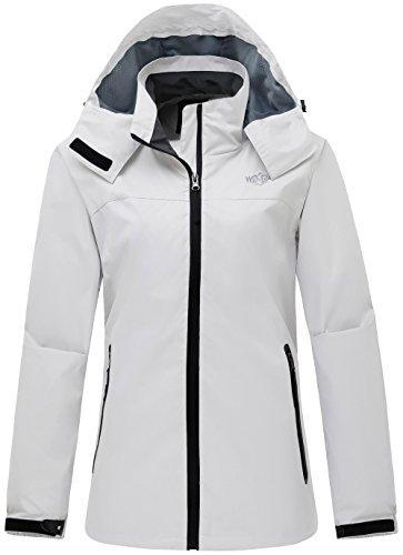 Zip Windbreaker (Wantdo Women's Sportswear Windbreaker Front Zip Hooded Outdoor Windproof Jacket White S)