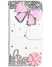 Crystal Wallet Case for Samsung Galaxy A20E,Aoucase Stylish Luxury 3D Handmade Pink Bowknot Design Bling Pocket Purse Soft Rubber Stand White Leather Case with Black Dual-use Stylus