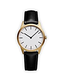 UNIFORM WARES C35 Swiss Quartz Stainless Steel and Black Leather Watch