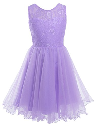 FAIRY COUPLE Girl's Lace Embroidered Bodice Flower Girl Party Dress K0191 12 Lilac by FAIRY COUPLE