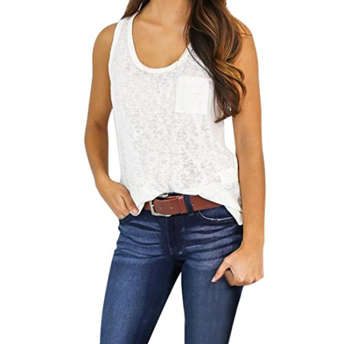 Sleeveless T-Shirt,Hemlock Women Blouse Shirt Tank Top Sport Vest (XL, White)