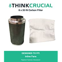 """8x20"""" Carbon Inline Fan Filter & Odor Control, Part # GLFILT8M; Perfect for Grow Rooms, Cigarette Smoke, Foul Odor Emissions, Pet Dander, Plant Emissions, Allergenic Pollutants & More"""