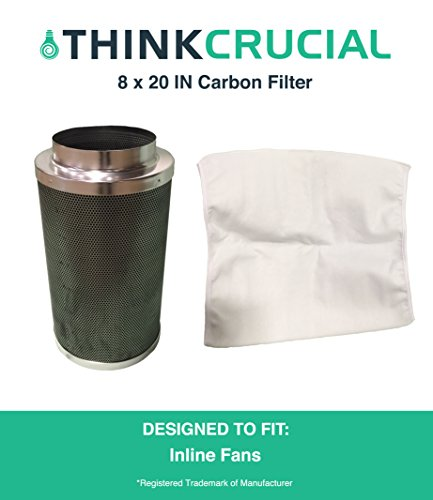 """8"""" x 20"""" Carbon Inline Fan Filter & Odor Control, Part # GLFILT8M; Perfect for Odor Elimination in Grow Rooms, Cigarette Smoke, Emissions & More, by Think - Perfect The Room Grow"""