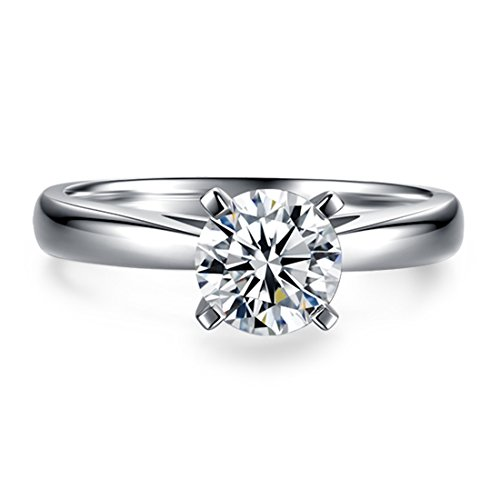 CARSINEL 1 Carat Round Brilliant CZ Sterling Silver 925 Wedding Engagement Ring Sizes 5 to 8 (5)