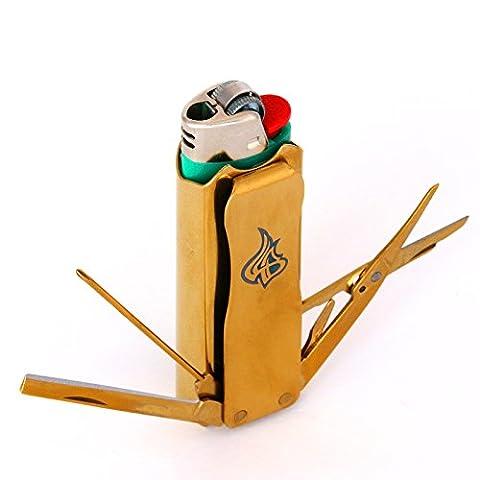 LighterBro Stainless Steel Lighter Sleeve, Titanium Gold Icon (Micro Tool Box)