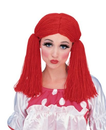 Raggedy Ann Doll Costume Women (Rubie's Costume Rag Doll Girl Wig, Red, One Size)