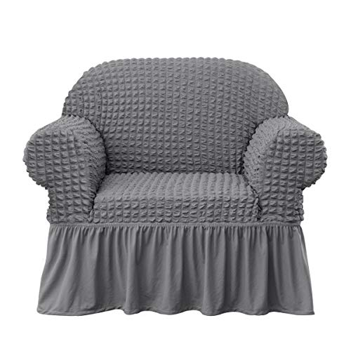 Subrtex Stretch Sofa Cover Skirt Style Couch Slipcover 1 Piece Universal Seersucker Sofa Protector with Ruffle Skirt Country Style Durable All-Purpose Furniture Cover(Chair, Grey) (Country Couch)