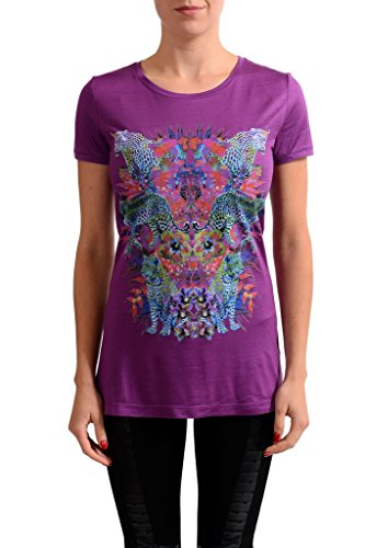 Versace Jeans Purple Graphic Women's Short Sleeve Blouse Top US M IT - Clothing Versace Womens