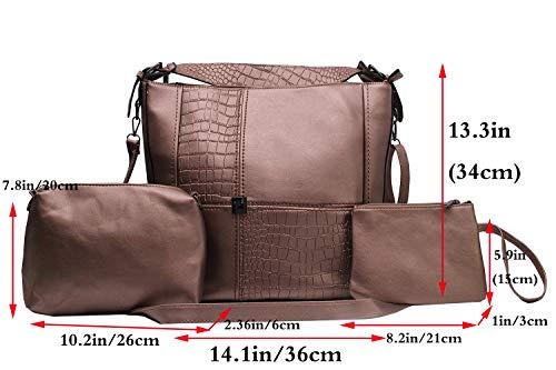 Main Mode Épaule Cuir Handbag Sacs Pochettes Bandouliere Clutches Portés Femme Set Bronze Synthétiqu Fivelovetwo Sac 3pcs Shoulder À tHw4R4