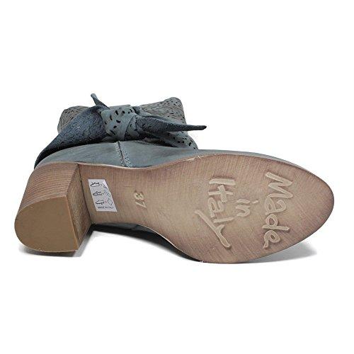 Tronchetti con In Time Tacco Made Estivi in Italy e a 0407 Jeans Fiocco Vera Laser Donna Stivaletti Traforati Blu Jeans Pelle Nabuk in WEYfSrY