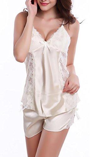 Unique Sling Camicie Estivi Classiche Pigiami da Schienale V Pizzo Donna Pigiama Corti Pezzi Notte Senza Due Scollo Smanicato in Bianca qTOpwv
