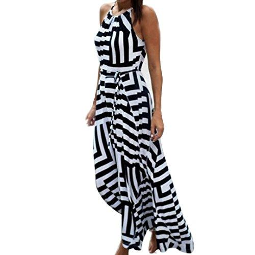 Dresses,Han Shi Women Boho Strip Print Maxi Long Evening Party Beach Sundress (Black, ()