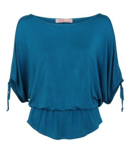 KRISP Womens Split Sleeve Blouse Cold Shoulder Oversized Shirt Summer Top Green