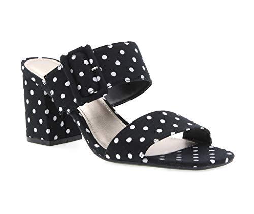 White Polka Dot Sandal - VLOSSOM Dress Sandal, Black/White Polka Dot Fabric, 7.5 B(M) US