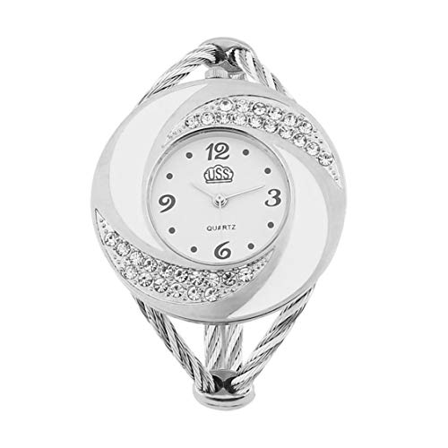 Dial Bangle Bracelet Watch - Women Steel Bangle Wrist Crystal Round Dial Analog Digital Bracelet Watch for Personal Wearing or Gift for Friends