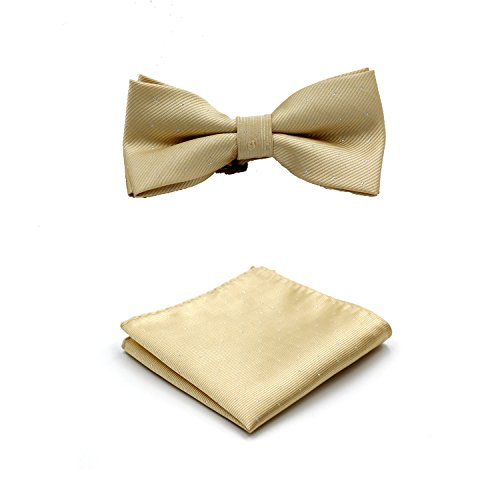 LOVTIE Gift Boxed Classic Men's Pre-Tied Satin Bow Tie & Pocket Square Set