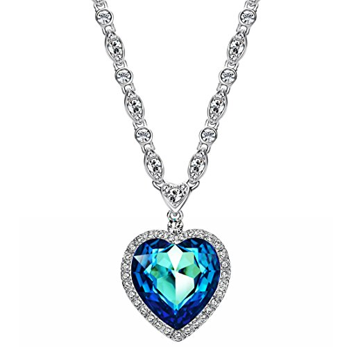 (Neoglory Three Colors Crystal Blue Heart Pendant Necklace For Women 21