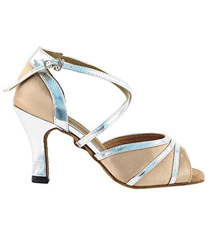 Très Belle Salle De Bal Latine Tango Chaussures De Danse Salsa Pour Les Femmes 6023 2,5 Pouces Talon + Bundle De Brosse Pliable Brun Clair Satin-argent Trim