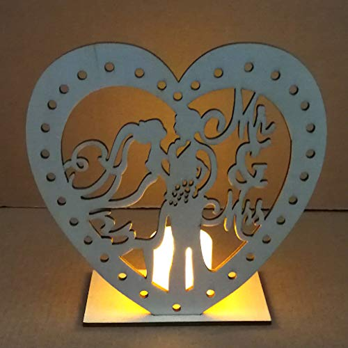 - Gotian Wedding Supplies Heart-Shaped Wooden Ornaments with LED Lights Heart Sign Night Light with Holder Base Table Light for Wedding Party Bridal Anniversaries (B)