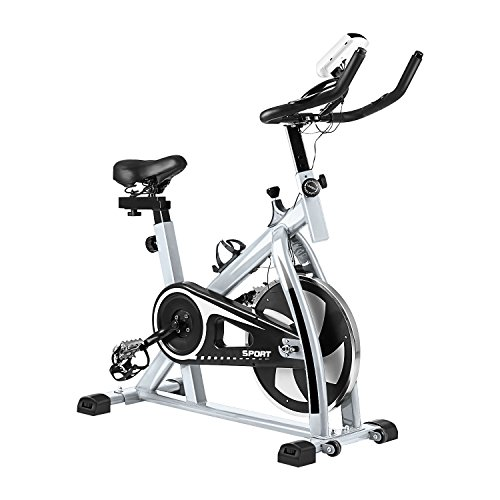 Civigrape Upgrade Indoor Exercise bike, Height Adjustable Indoor Cycle Bike with LCD Monitor, Heart Pulse Sensors (White) For Sale