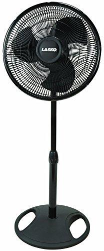Lasko 16 Inch Oscillating 3 Speed Adjustable Pedestal Stand Fan, Black (2 Pack) ()