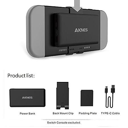 Zantec - Cargador portátil extraíble de 10000 mAh para batería externa para Nintendo Switch, negro