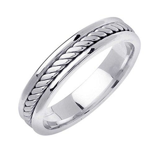 14K White Gold Braided Rope Edge Men