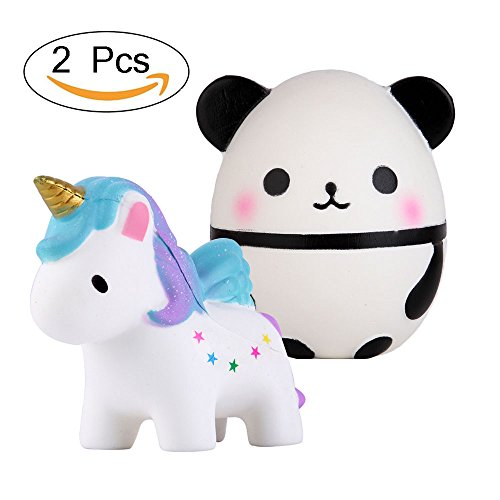 Anboor Squishies Unicorn and Panda Egg Kawaii Slow Rising Scented Animal Squishies Stress Relief Kids Toy Gift,2 Pcs by Anboor