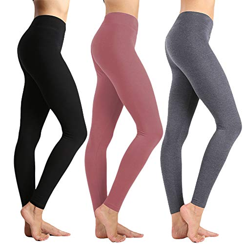 Womens High Waisted Leggings-Super Soft Slim Pants-One/Plus Size 20+ Design (Black+Grey+Old Rose, One Size(US - Touch Coverage Body Full