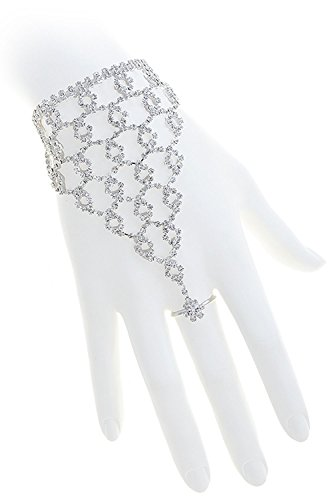 [KARMAS CANVAS CRYSTAL LINED LOOP HAND CHAIN] (Dallas Wholesaler Costumes Jewelry)