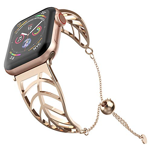 UooMoo Bracelet Replacement for Apple Watch Band 44mm 40mm Rosegold Elegant Cuff Jewelry Strap Wristbands Compatible with Iwatch Series 1/2/3/4 - Unique Fancy Style for Women Girls