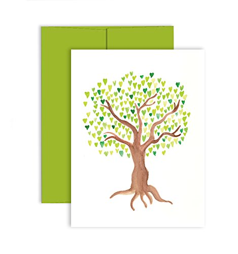 Tree of Love Note Cards (10 Premium Notecards + Green Apple Envelopes) - Blank All-Occasion Greeting Cards - Proudly Made in the USA By Palmer Street Press