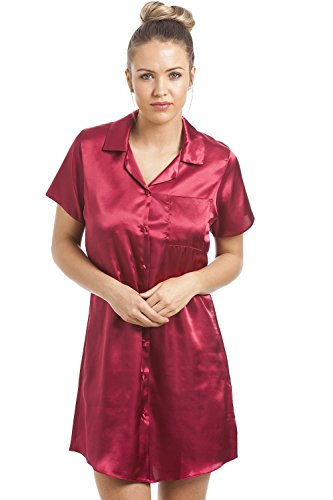 Camille Womens Ladies Luxurious Knee Length Red Satin Nightshirt 6 Red (Nightshirt Red Ladies)
