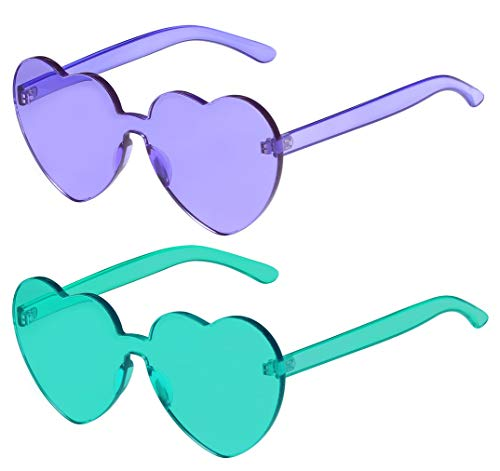 One Piece Heart Shaped Rimless Sunglasses Transparent Candy Color Eyewear]()
