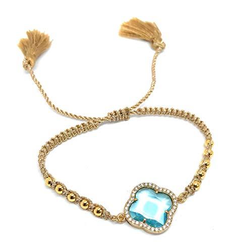 Gold Tassel Braided (LESLIE BOULES Blue Crystal Flower Gold Beads Braided Bracelet Adjustable with Charm Tassels)