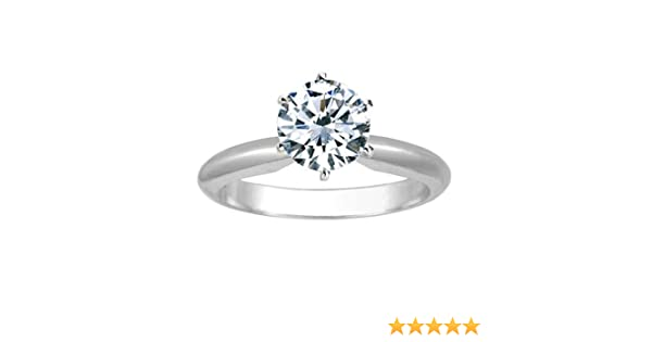 e68cced494dea9 IGI Certified 1 Carat Round Brilliant Cut/Shape 14K White Gold Solitaire  Diamond Engagement Ring 6 Prong (H-I Color, Eye Clean Clarity Center Stones  Center ...
